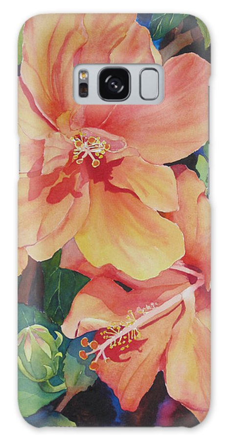 Hibiscus Galaxy S8 Case featuring the painting Double Hibiscus by Judy Mercer