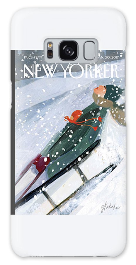 Downhill Racers Galaxy Case featuring the painting Downhill Racers by Gayle Kabaker