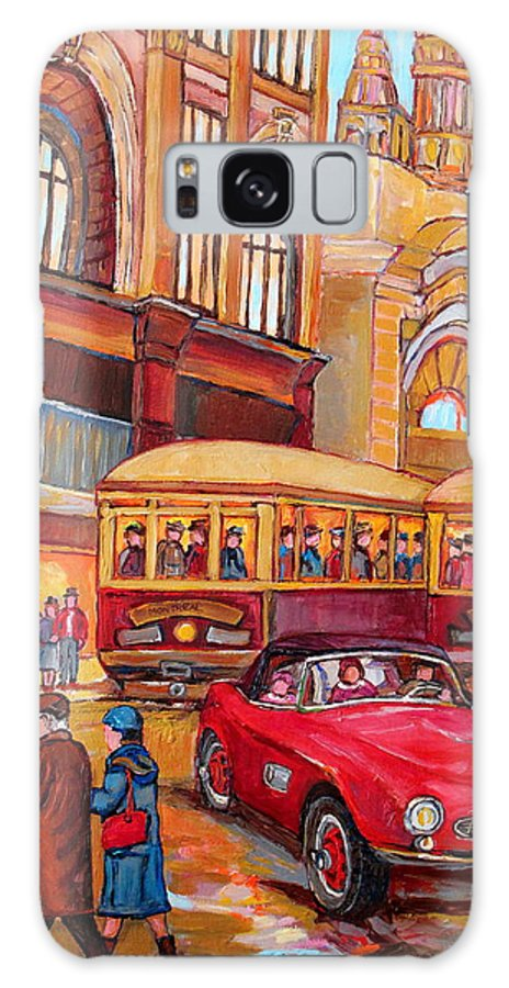 Montreal Galaxy S8 Case featuring the painting Downtown Montreal-streetcars-couple Near Red Fifties Mustang-montreal Vintage Street Scene by Carole Spandau