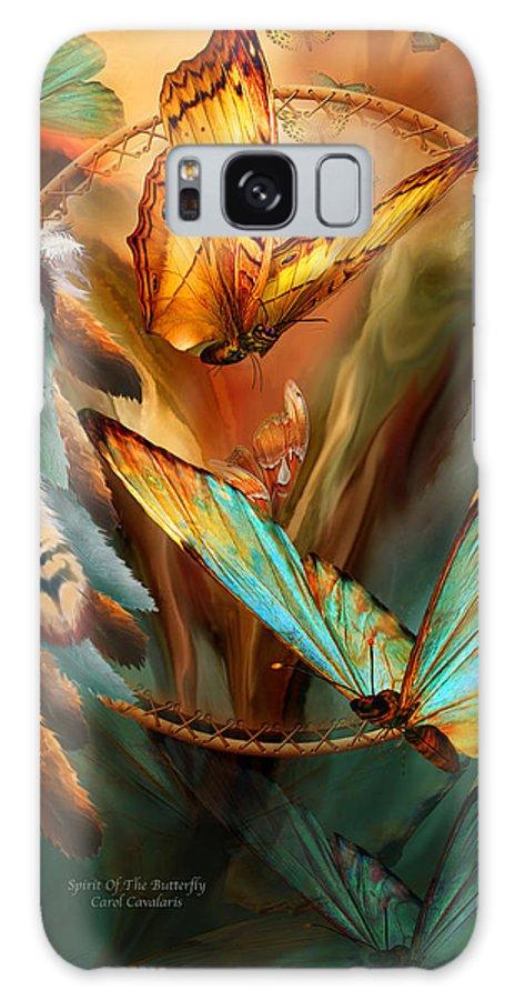 Carol Cavalaris Galaxy Case featuring the mixed media Dream Catcher - Spirit Of The Butterfly by Carol Cavalaris