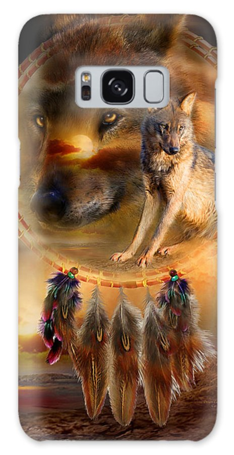 Carol Cavalaris Galaxy Case featuring the mixed media Dream Catcher - Wolfland by Carol Cavalaris