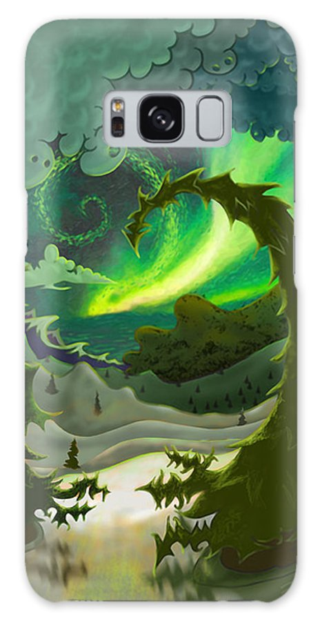 Ebenlo Galaxy S8 Case featuring the painting Dream Landscapes Aurora Green by EBENLO Artist