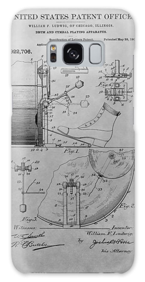 1909 Drum Patent Galaxy Case featuring the drawing Drum And Cymbal Playing Apparatus by Dan Sproul
