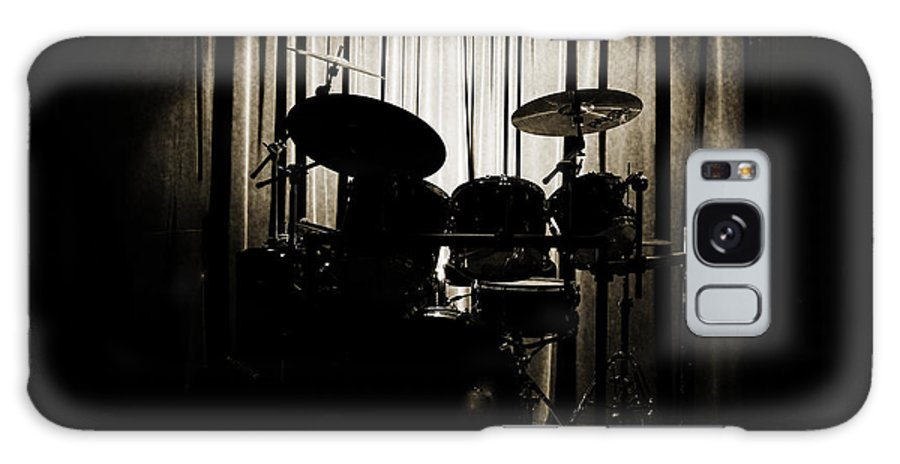 On Stage Galaxy Case featuring the photograph Drum Set On Stage Photograph Combo Jazz Sepia 3234.01 by M K Miller
