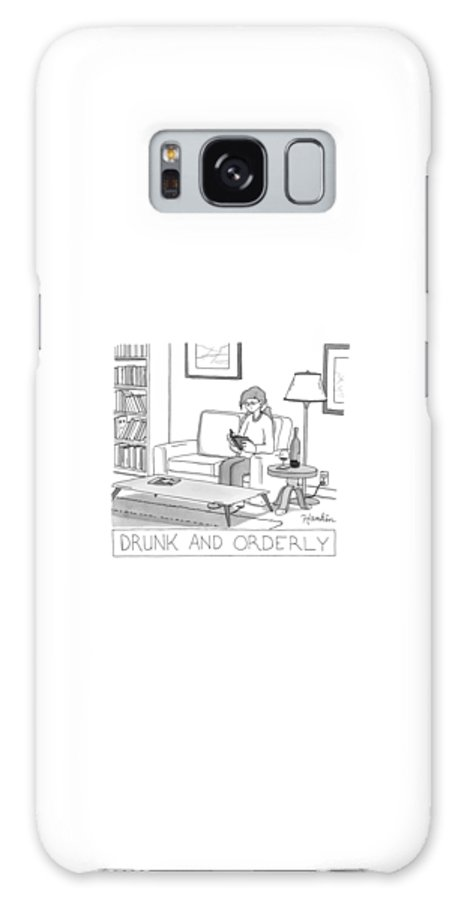 Captionless Galaxy Case featuring the drawing Drunk And Orderly -- A Woman Reads A Book by Charlie Hankin