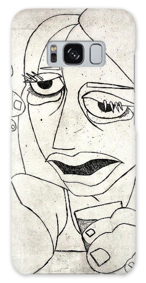 Clay Galaxy S8 Case featuring the relief Drunk Girl by Thomas Valentine