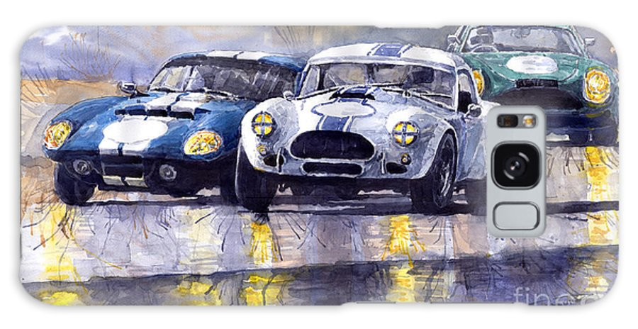Ac Cobra Galaxy S8 Case featuring the painting Duel Ac Cobra And Shelby Daytona Coupe 1965 by Yuriy Shevchuk