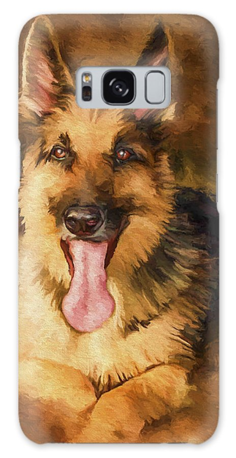 German Shepherd Galaxy S8 Case featuring the painting Duke by David Wagner