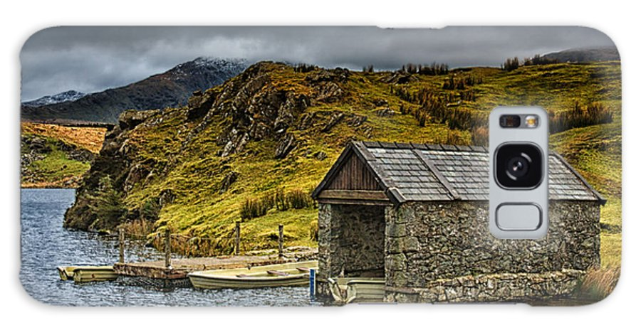 Dock Galaxy S8 Case featuring the photograph Dywarchen Boathouse Stormy by Graeme Pettit