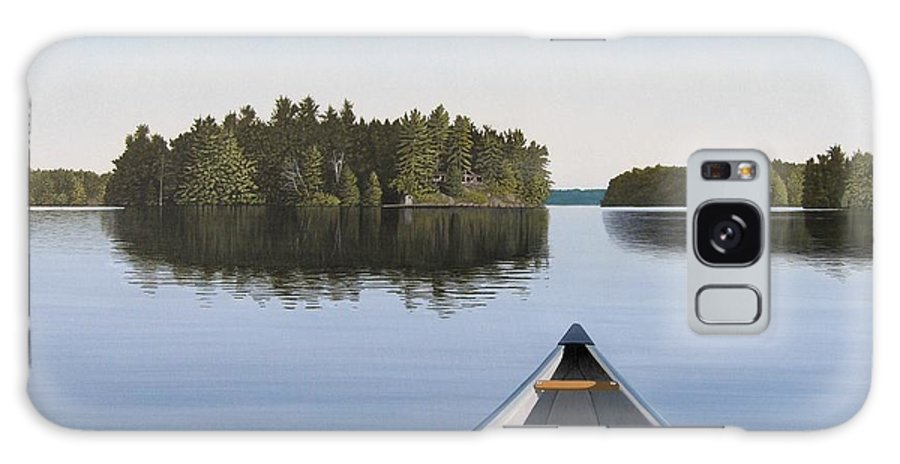 Canoe Galaxy Case featuring the painting Early Evening Paddle aka Paddle Muskoka by Kenneth M Kirsch