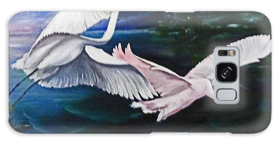 Snowy Egrets Galaxy Case featuring the painting Early Flight by Karin Dawn Kelshall- Best