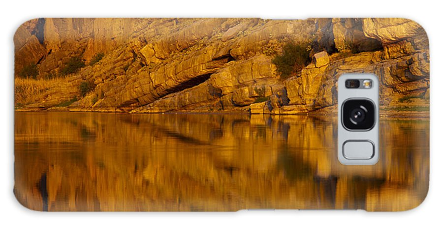 Santa Elena Canyon Big Bend National Park Texas Parks Canyons Rio Grande River Rivers Water Reflection Reflections Rock Rocks Stone Stones Landscape Landscapes Waterscape Waterscapes Galaxy S8 Case featuring the photograph Early Morning Reflection by Bob Phillips