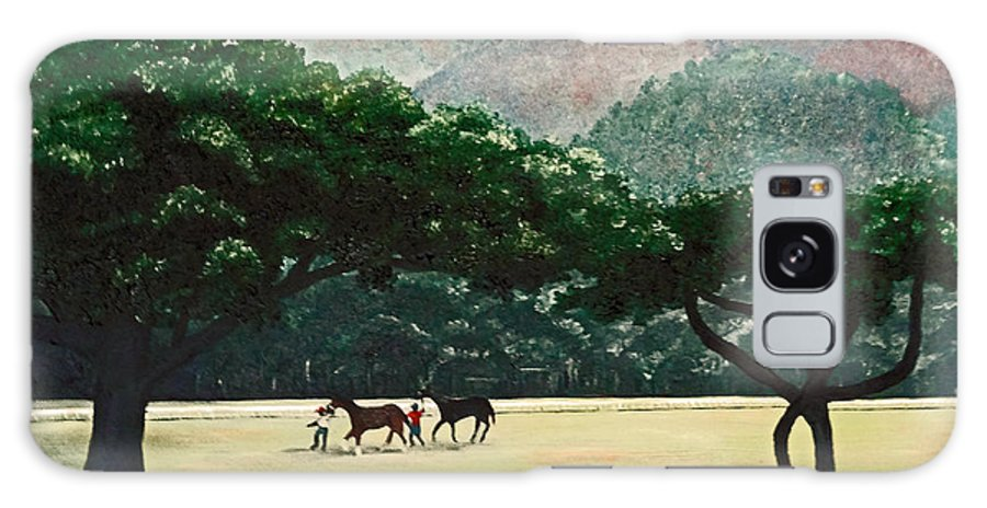 Trees Galaxy Case featuring the painting Early Morning Savannah by Karin Dawn Kelshall- Best