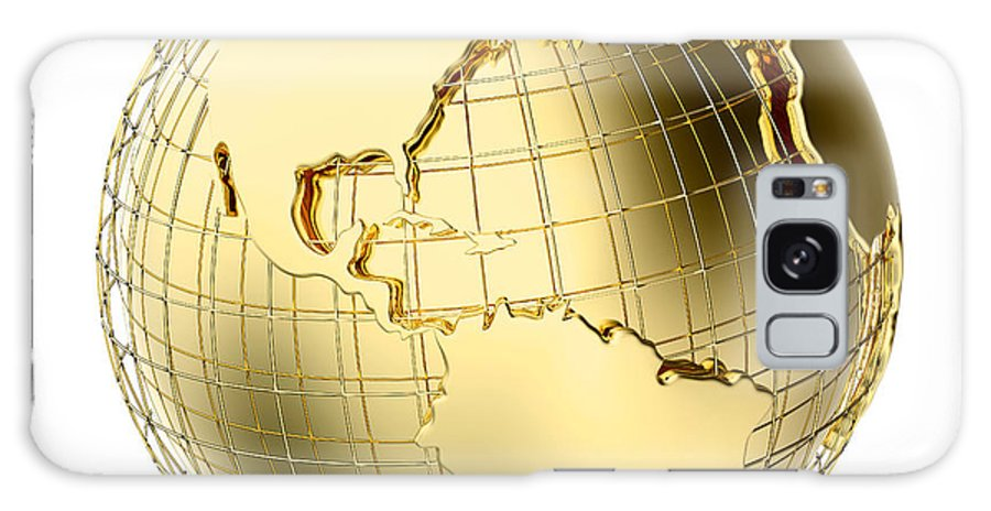Earth Galaxy S8 Case featuring the photograph Earth In Gold Metal Isolated On White by Johan Swanepoel