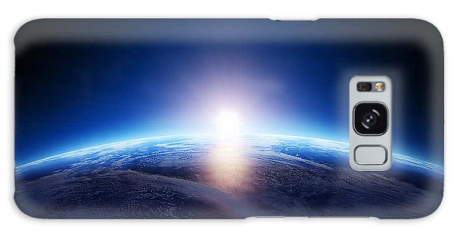 Earth Galaxy Case featuring the photograph Earth Sunrise Over Cloudy Ocean by Johan Swanepoel