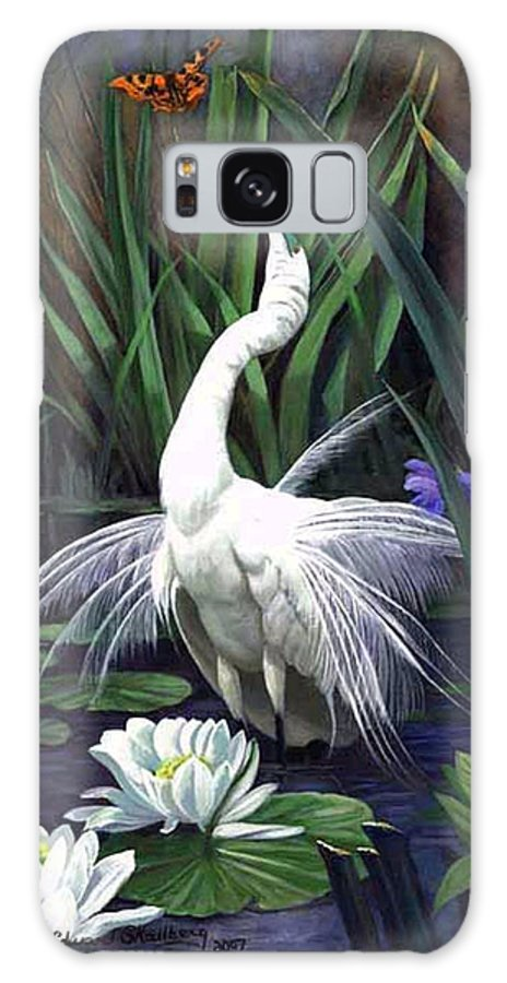 Landscape Galaxy S8 Case featuring the painting Egret And The Butterfly by Edward Skallberg