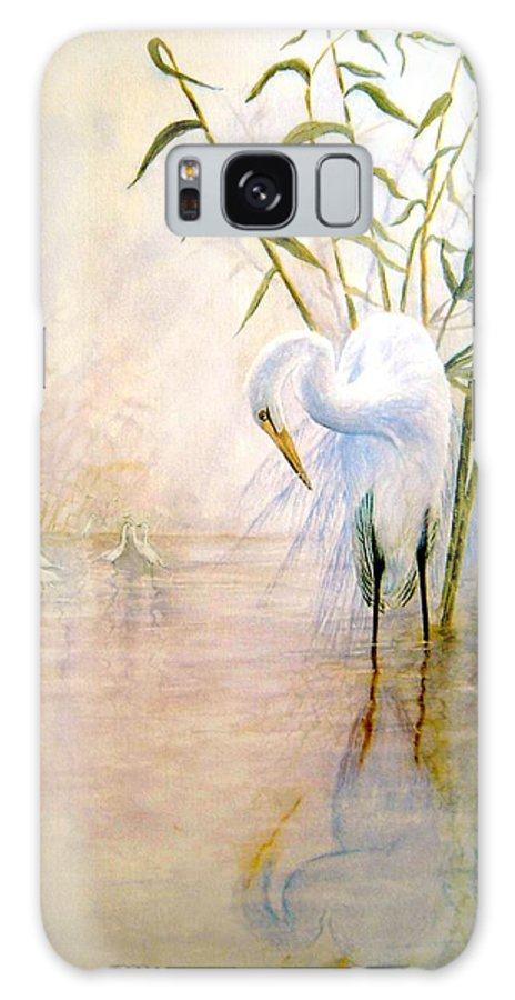 Eret; Bird; Low Country Galaxy Case featuring the painting Egret by Ben Kiger
