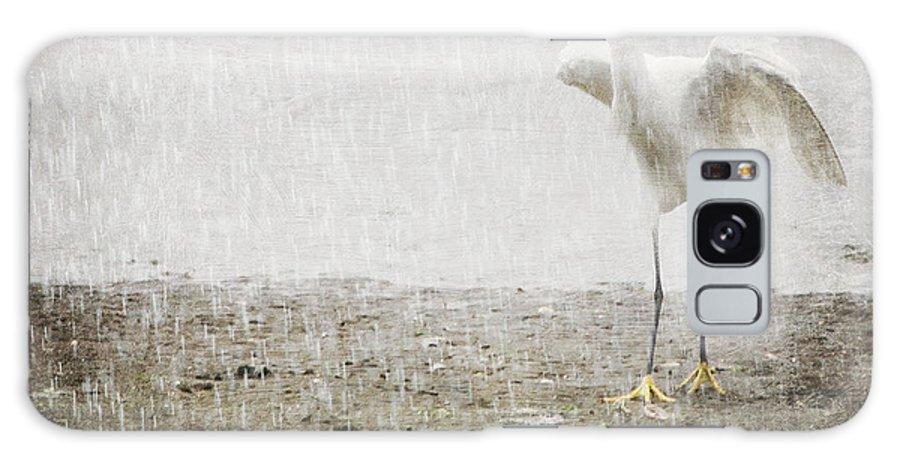 Egret Galaxy S8 Case featuring the photograph Egret In Rain by Heidi Piccerelli