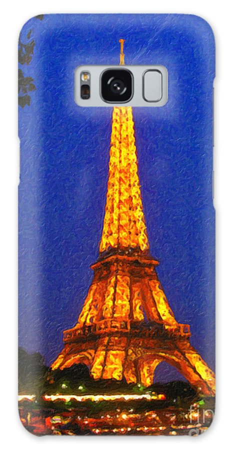 Safran Fine Art Galaxy S8 Case featuring the painting Eiffel Tower Illuminated by Safran Fine Art