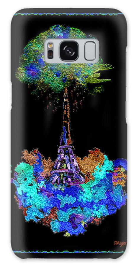 Abstract Galaxy S8 Case featuring the painting Eiffel Tower Topiary by Paula Ayers