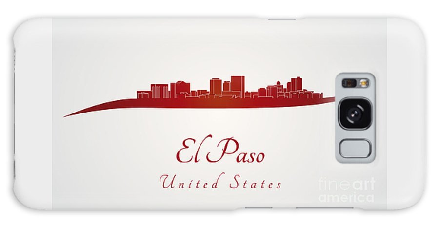 El Paso Skyline Galaxy S8 Case featuring the digital art El Paso Skyline In Red by Pablo Romero
