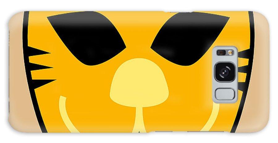 Orange Galaxy S8 Case featuring the digital art El Tigre Luchador Orange Black Beige by MX Designs