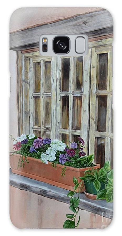 Adobe Galaxy S8 Case featuring the painting Elayne Look Through The Window by Mary Rogers