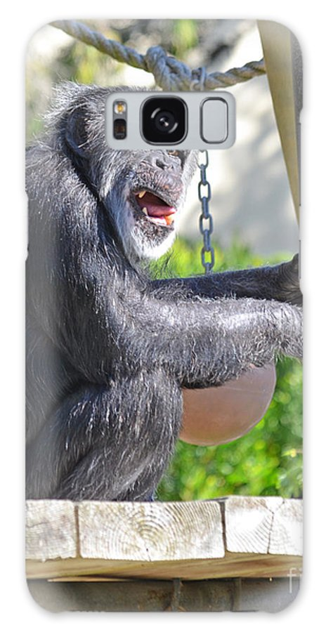 Chimp Galaxy S8 Case featuring the photograph Elderly Chimpanzee Fade To White Version by Jim Fitzpatrick