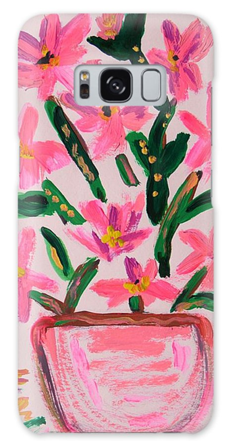 Electric Pink Galaxy S8 Case featuring the painting Electric Pink Flowers by Mary Carol Williams