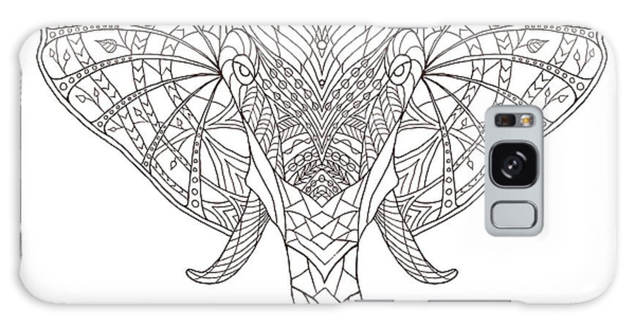 Symbol Galaxy S8 Case featuring the digital art Elephant. Black And White Hand Drawn by Fosin