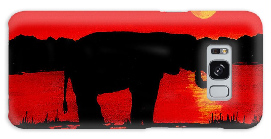 Wildlife Galaxy S8 Case featuring the painting Elephant Silhouette African Sunset by Michael Vigliotti