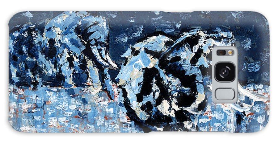 Elephant Art Galaxy S8 Case featuring the painting Elephants by Lidija Ivanek - SiLa