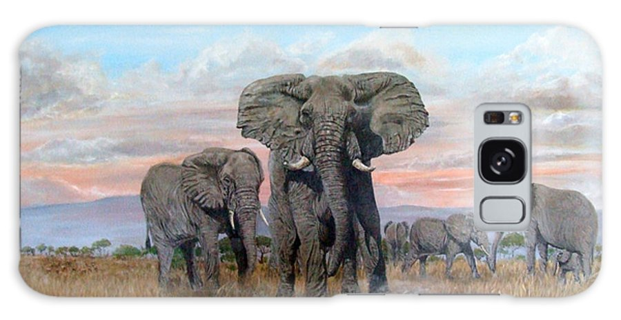 Africa Galaxy S8 Case featuring the painting Elephants Warning To The Lions by Mackenzie Moulton