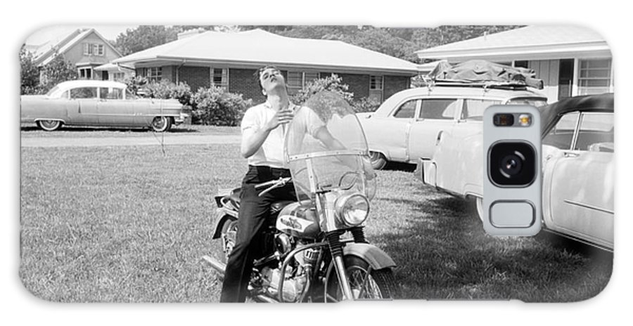 Elvis Presley Galaxy S8 Case featuring the photograph Elvis Presley With His 1956 Harley Kh by The Harrington Collection
