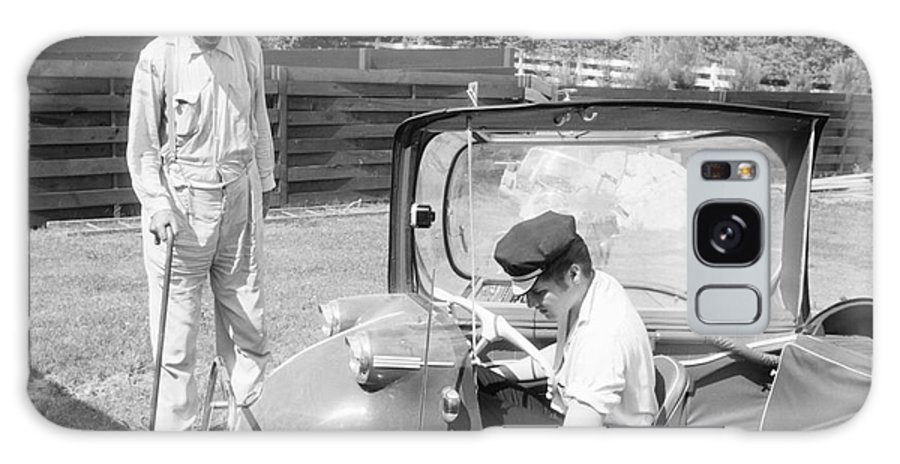 Elvis Presley Galaxy S8 Case featuring the photograph Elvis Presley With His Messerschmitt Micro Car 1956 by The Harrington Collection