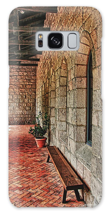 Cloisters Museum Galaxy S8 Case featuring the photograph Empty Bench And Corridor At Cloisters by Nishanth Gopinathan