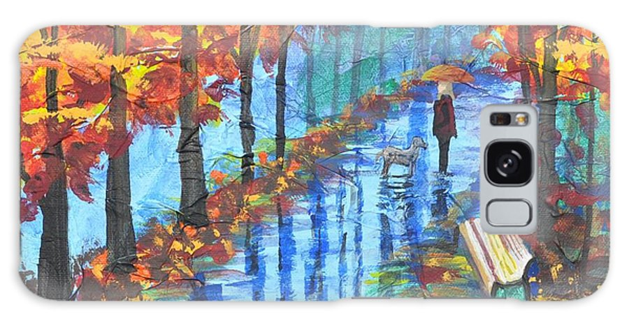 Empty Bench Galaxy S8 Case featuring the painting Empty Bench by Sally Rice