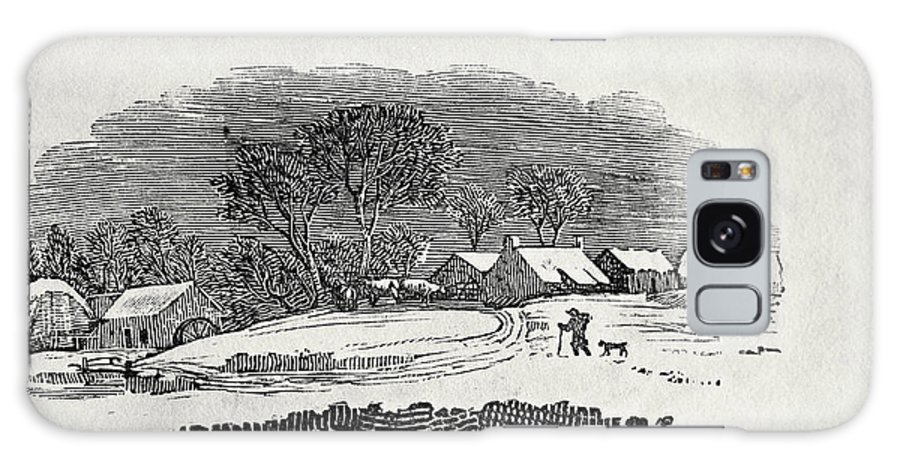Galaxy S8 Case featuring the painting Endpiece, Late 18th Or Early 19th Century Wood Engraving 99;landscape; Winter; Figure; Snow; Snowy; by Thomas Bewick