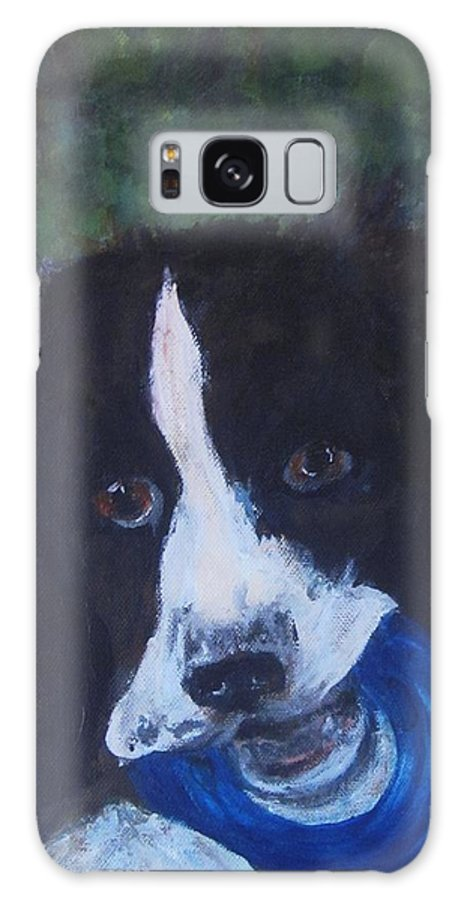 English Springer Spaniel Galaxy S8 Case featuring the painting English Springer Spaniel Quasi Motto by Andrea Flint Lapins