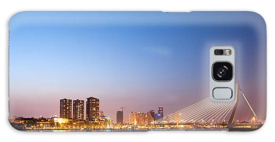 Rotterdam Galaxy S8 Case featuring the photograph Erasmus Bridge In Rotterdam At Dusk by Artur Bogacki