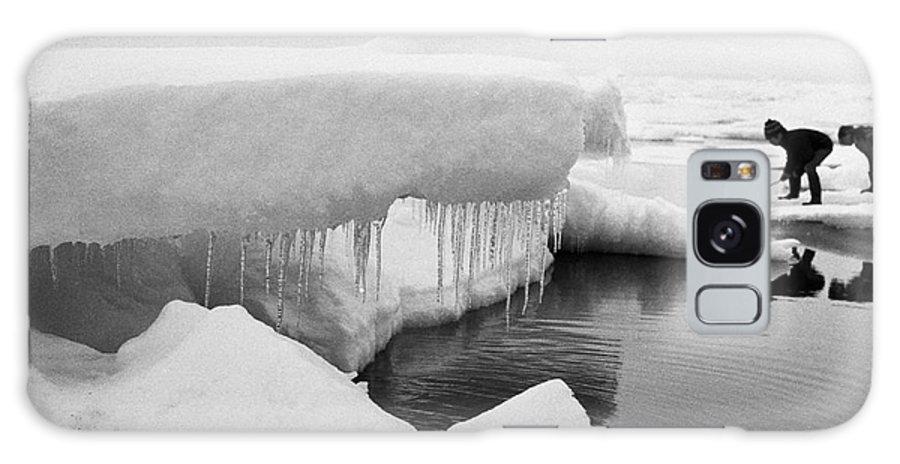 Boys Galaxy S8 Case featuring the photograph Eskimo Boys Ice Fishing Barrow Alaska July 1969 by California Views Mr Pat Hathaway Archives