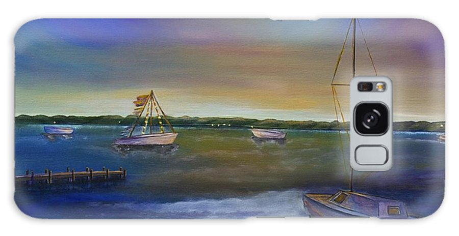 Acrylic Painting Galaxy S8 Case featuring the painting Evening In The Harbor by Marianne Eichenbaum