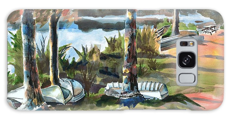 Evening Shadows At Shepherd Mountain Lake No W101 Galaxy Case featuring the painting Evening Shadows At Shepherd Mountain Lake No W101 by Kip DeVore
