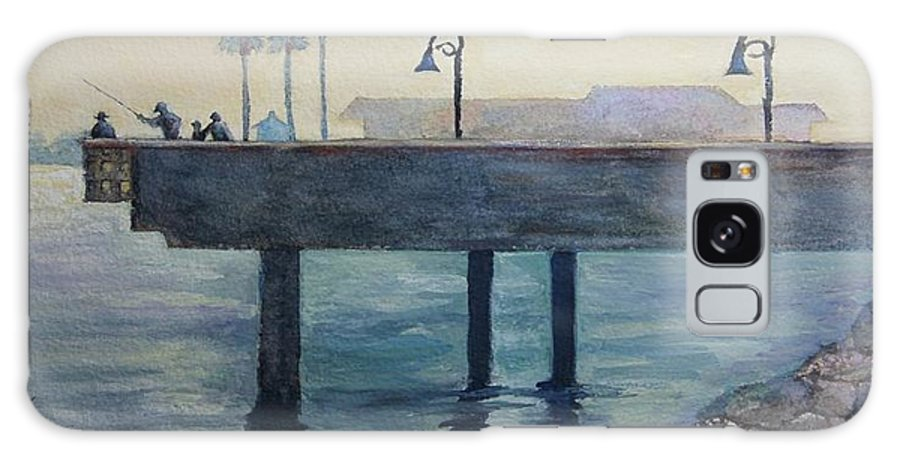 Oceanside Galaxy S8 Case featuring the painting Eventide At The Oceanside Harbor Fishing Pier by Jan Cipolla