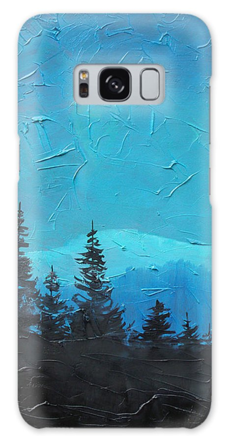 Landscape Galaxy Case featuring the painting Evergreen trees by Sergey Bezhinets
