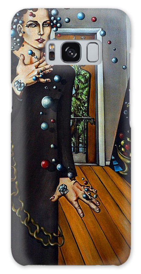 Surreal Galaxy Case featuring the painting Existential Thought by Valerie Vescovi