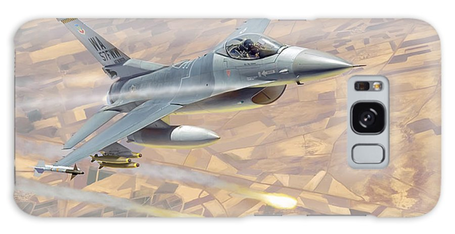 Aviation Galaxy Case featuring the painting F-16 Fighting Falcon by Mark Karvon
