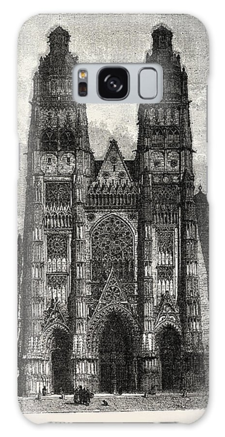 Facade Galaxy S8 Case featuring the drawing Facade Of The Metropolitan Church Of Tours by Litz Collection
