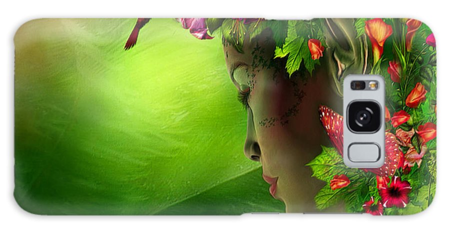 Fae Galaxy S8 Case featuring the mixed media Fae In The Flower Hat by Carol Cavalaris
