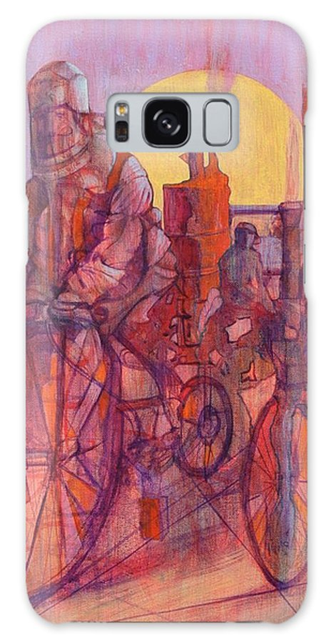 Surreal Figures On Bicycles And Machines Galaxy S8 Case featuring the painting Fahrenheit 451 by J W Kelly